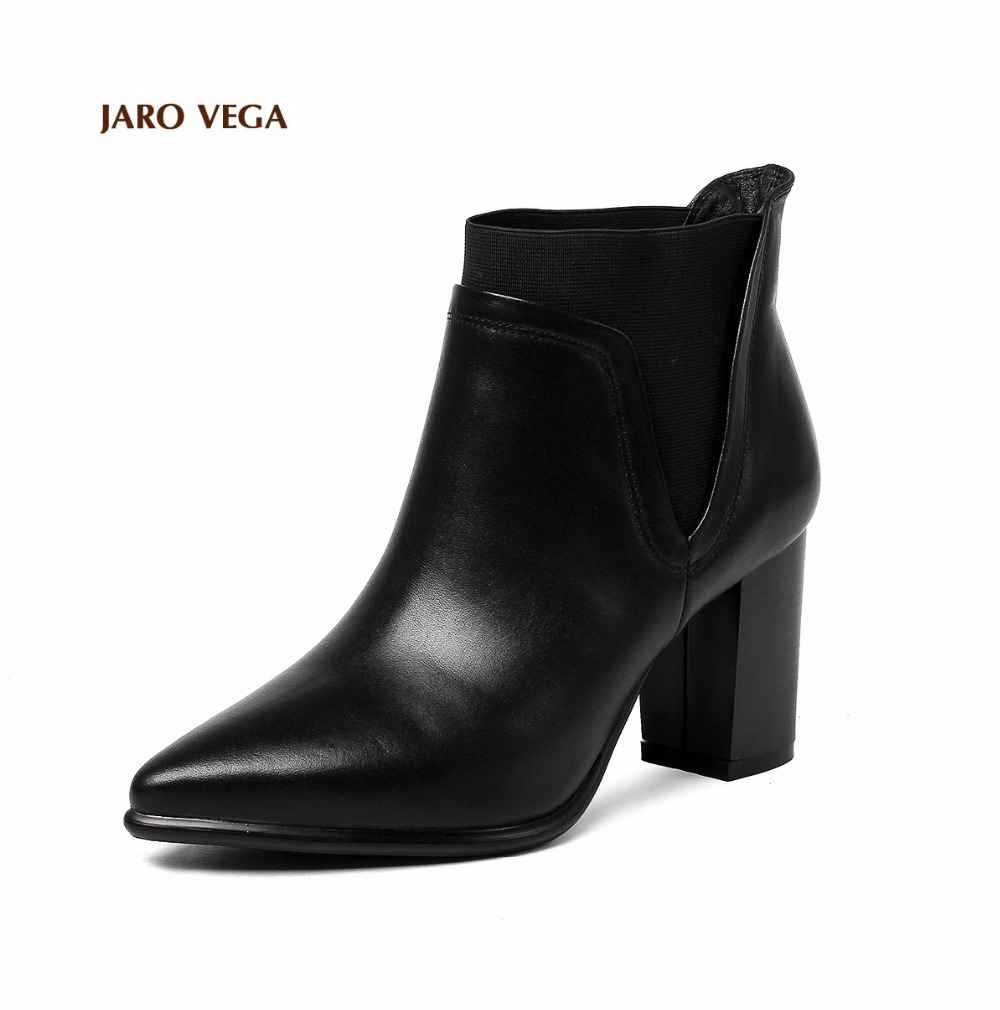 Jaro Vega Women s Pointed Toe Chunky Heel Elastic Band Genuine Leather Boots Booties