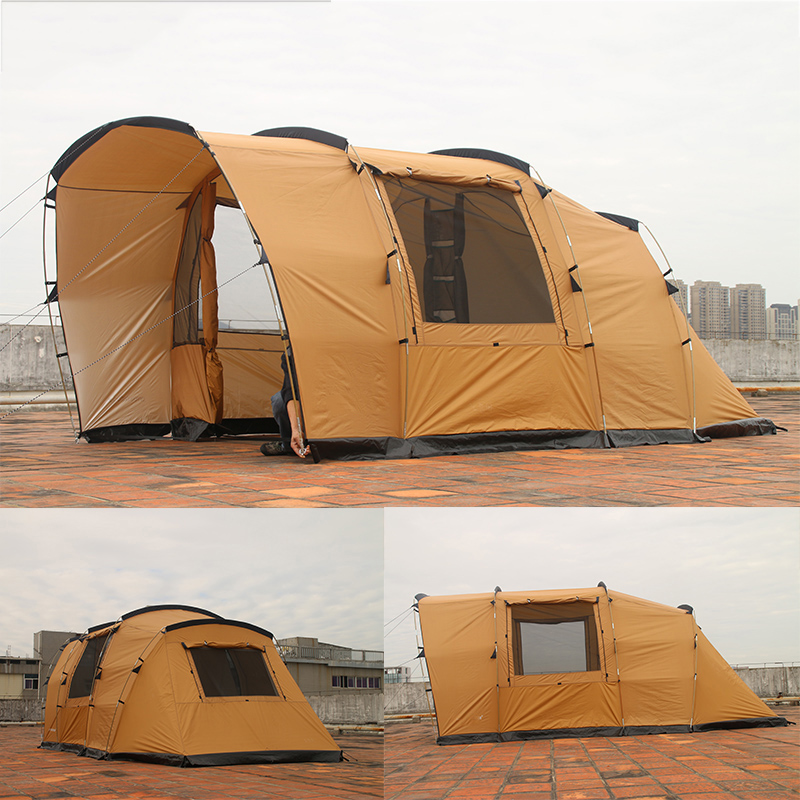 COOLWALK Outdoor Camping Tent 2 Bed Room 2 Living Room Three-Season Tent Roomy Family Hiking Tent 4 People Party Tunnel Tents outdoor camping hiking automatic camping tent 4person double layer family tent sun shelter gazebo beach tent awning tourist tent
