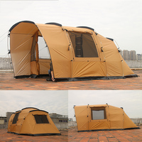 COOLWALK Outdoor Camping Tent 2 Bed Room 2 Living Room Three Season Tent Roomy Family Hiking Tent 4 People Party Tunnel Tents