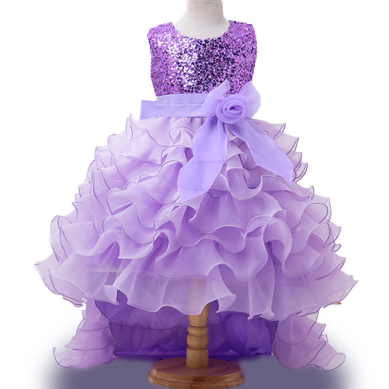 2016 New Summer Baby Girls Party Dress Evening Wear Long Tail Girls Clothes Elegant Flower Girl Dress Kids Baby Dresses h16 2013 hot baby summer new design stylish and elegant multi layered lace roses very beautiful girl in evening dress