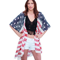 Blouse Women 2017 Fashion Women American Flag Print Blouse Loose Chiffon Shoet Sleeve Cardigan Tops beach party blusas May 26
