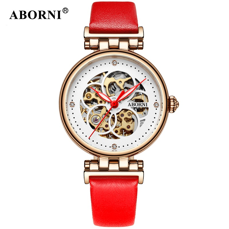 ABORNI Women Mechanical Watches Diamond Ladies Skeleton Watch Women Wristwatches 2018 automatic Fashion Clock Relogio Feminino все цены