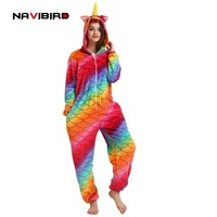 2018 Hooded Red Unicorn Costume Kigurumi Cosplay Women Winter Flannel Anime Onesie Outfit Adult Men S