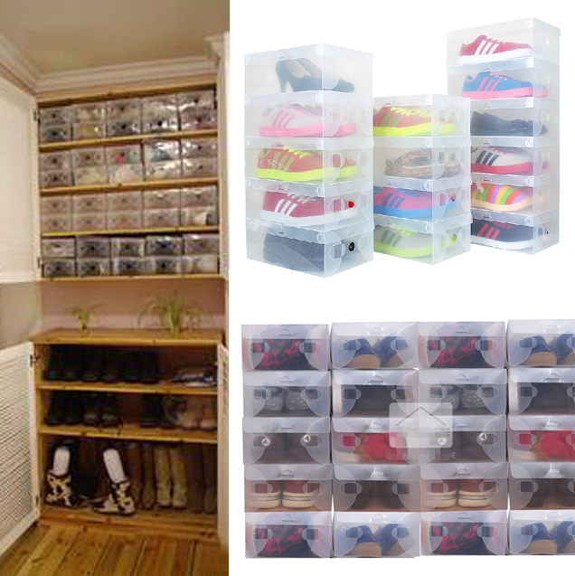 10pcs In 1 High Quality Clear Foldable Plastic Shoe Storage Case Bo Stackable Organizer Holder Hot Gift Bags Wring Supplies From Home