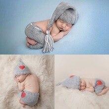 Милый вязаный костюм «кроше» для новорожденных 0-6 месяцев, наряд для фотосессии, детская шапка, реквизит для фотосессии, милые наряды для новорожденных девочек