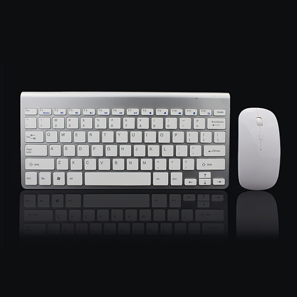 цены 2.4Ghz Ultra-Thin Wireless Keyboard And Mouse Combo With USB Receiver Mouse Keyboard set For Apple PC WindowsXP/7/8/10 silver