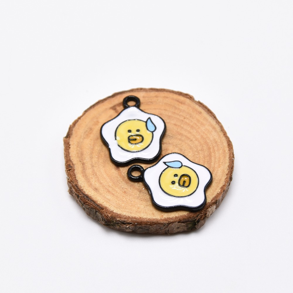 MRHUANG 10pcs/pack Cut food egg Enamel Charms Alloy Oil drop Pendant fit for bracelet DIY Fashion Jewelry Accessories