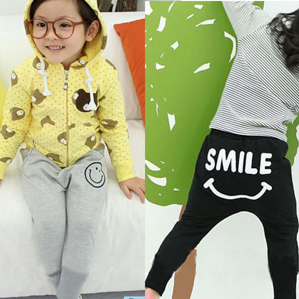 Soft Kid Girl Baby Solid Cotton Smile Print Sports Harem Long Pants Trouser 1-6Y