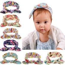 EASOV Kids Girls Printing Flower Rabbit Ears Headband Knot Elasticity Kids Hair Band Cotton Headwear kids Hair Accessories  W190