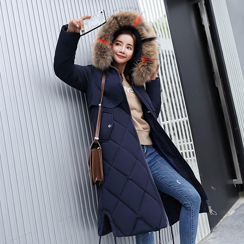 new 2018 fashion medium-long winter coat women big fur parka female thickening warm down jacket women plus size outerwear ladies