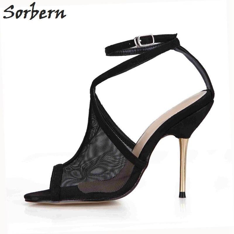 Sorbernผู้หญิงฤดูร้อนรองเท้าแตะส้นโลหะตาข่ายP Eep Toeหัวเข็มขัดสายรัด10.7ส้นทองจริงภาพรอง