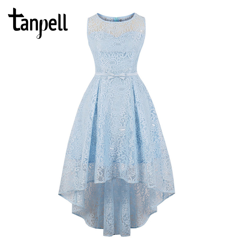Tanpell lace homecoming dress blue scoop neck sleeveless tea length a line gown women graduation asymmetry homecoming dresses