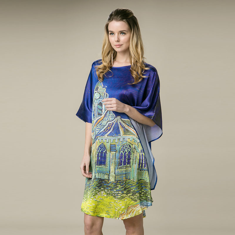 100 Silk Satin Women Dress New Desigual Printed Women Dresses Comfortable Home Dress