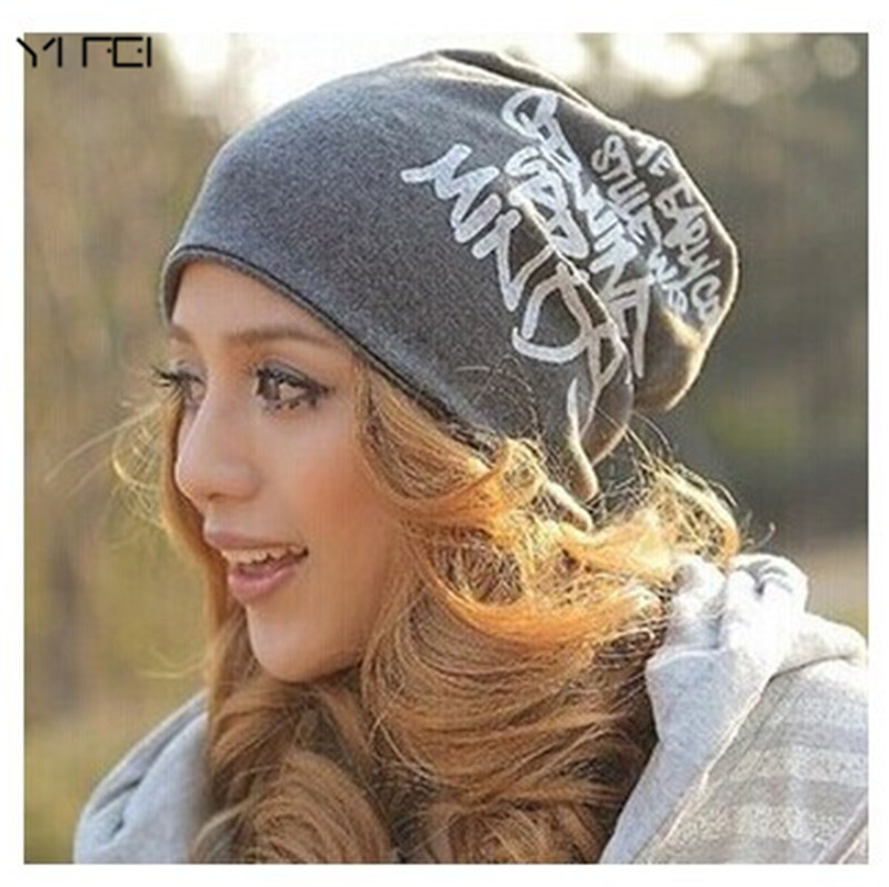 YIFEI New Spring  Autumn Fashion Baggy Beanies with Letters Unisex Cotton Warm Winter Hats for Women Hip Hop Men Bonnet Head Cap 2016 limited gorro gorros brand new women s cotton hip hop ring warm beanie cap winter autumn knitted hats beanies free shipping