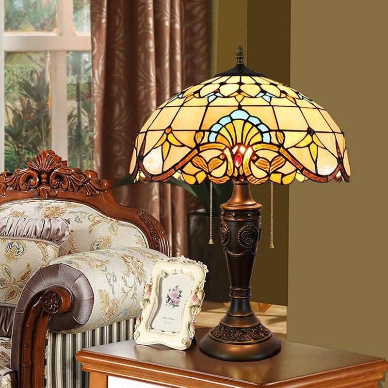 40 см Европа фу творческий цвет стекла столовая спальня ночники барокко молнии свет настольные лампы 110-260 В E27 e26