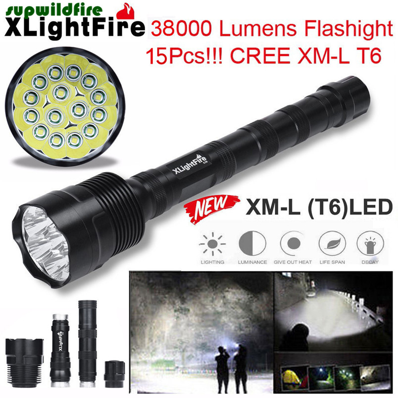 XLightFire 38000 Lumens 4/5/6/7/8/9/10/11/12/13/14/15 x T6 18650 Super Bright LED Flashlight UK plug Free Shipping #NO1811 hot xlightfire 30000 lumens 12 x xml t6 5 mode led flashlight 3 x 18650 battery free shipping nn01