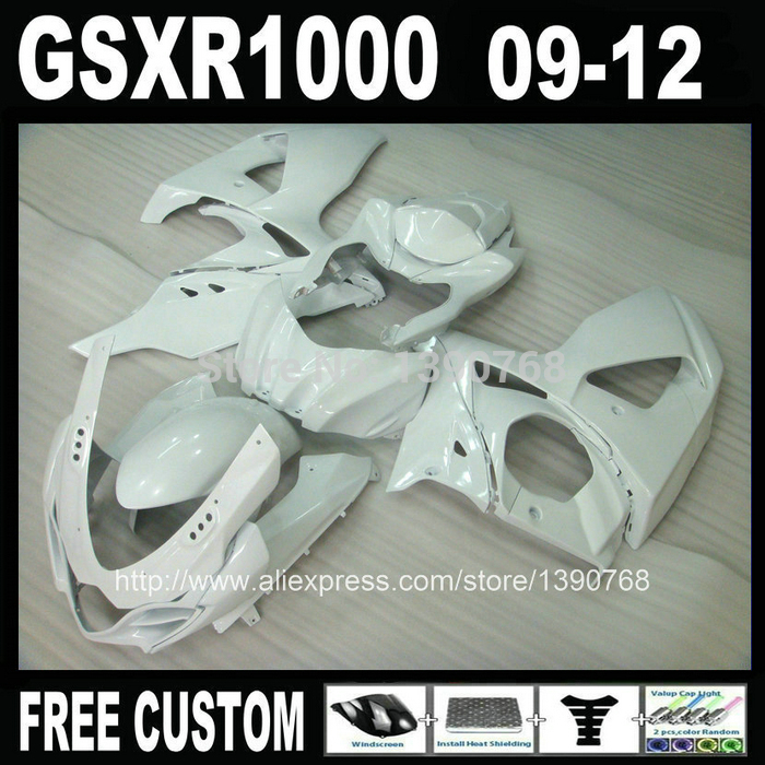 High quality Injection Mold fairing kit for SUZUKI GSXR 1000 2009 2010 2011 2012 K9 GSXR1000 09-12 all glossy white fairing set high quality electric cooker plastic injection mold