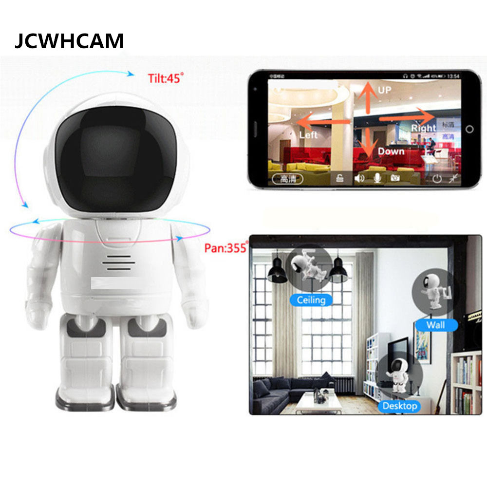 JCWHCAM 960P Robot Network IP Camera WIFI HD PTZ Audio P2P Onvif Night Vision SD TF Card Slot Security Cam Baby Monitor robot camera wifi 960p 1 3mp hd wireless ip camera ptz two way audio p2p indoor night vision wi fi network baby monitor security