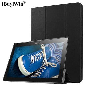 цена на Slim Folding Flip Cover Stand PU Leather Case for Lenovo Tab 2 A10-30 A10-70 A10-70F A10-70L X30F 10.1 inch Tablet Case+Film+Pen