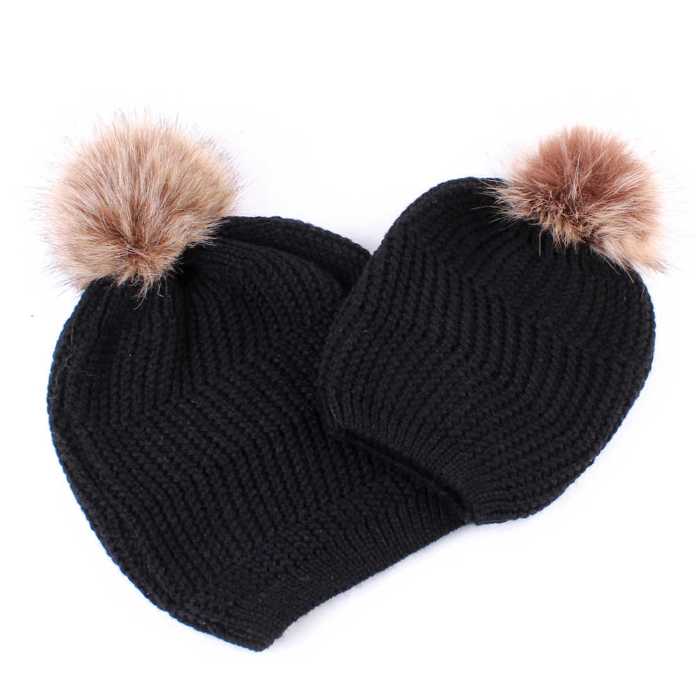 89304f79480 ... HOT SALE Family Matching Outfits Mommy and Baby Infant winter Warm fur Crochet  Knit Hat Beanie ...
