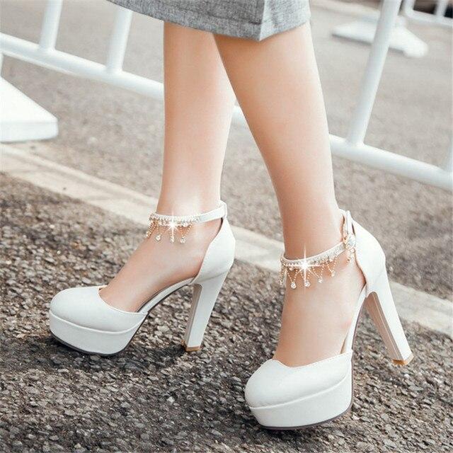 Большой размер мерцающие пояса мэри джейн стиль металлические цепи ну вечеринку свадебные туфли круглый носок высокие каблуки платформы женщины туфли на высоком каблуке сандалии