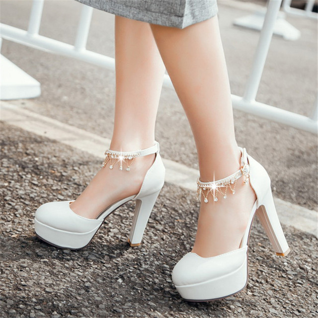 Big size Shimmery Belt Mary Jane Style Metallic Chains Party Wedding Shoes Round Toe High Heels Platform Women Pumps Sandals
