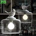 Aves pingente de vidro moderno da lâmpada suporte da lâmpada e27 110-240 v casa de café/sala de jantar/hall de entrada no interior iluminação free grátis