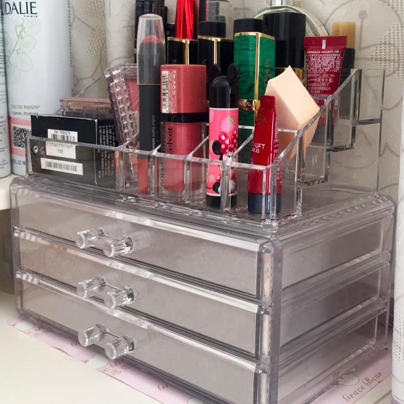 Acrylic Multi-layer Brush Kit Eye Cosmetic Beauty Makeup Storage Box with Velvet 3 trays cosmetics or toiletries Storage cases