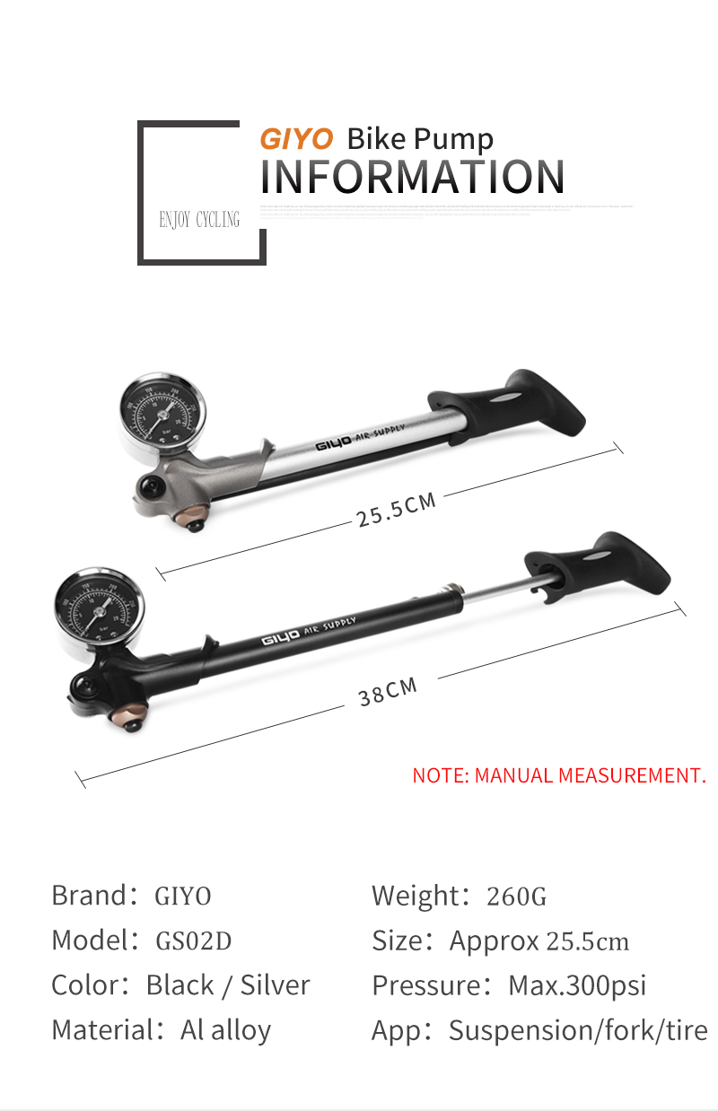 Насос GIYO 300 фунтов/кв. дюйм, велосипедный воздушный ударный насос высокого давления для вилки и задней подвески, велосипедный насос для горного велосипеда с манометром