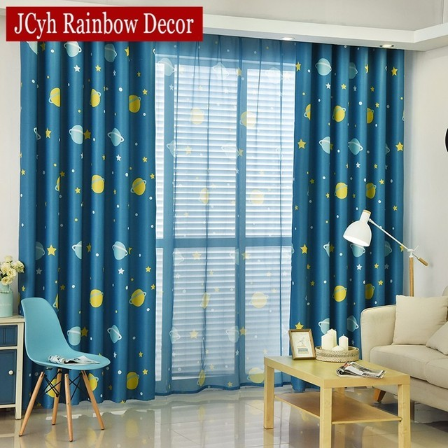 Blue Planet Star Cartoon Window Blackout Curtains For Children Baby Boy Kids Bedroom Living Room