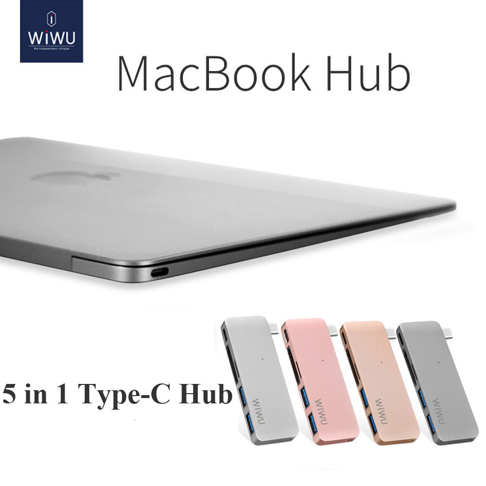 WIWU Thunderbolt USB 3.0 for Macbook Pro Air Type C Hub 5 in 1 USB Hubs Notebook Computer Cable for Macbook 12 Hub Connector USB 12mm extra long head micro usb cable extended connector 1m cabel for homtom zoji z8 z7 nomu s10 pro s20 s30 mini guophone v19