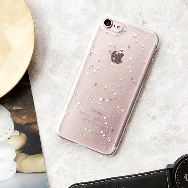 on sale 46e8a 46e3b Fashion Bling Star Sky Heart Glitter Soft TPU Case Cover for iPhone 6 6s 7  8 Plus X Bright Black Clear Phone Protective Cases