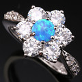 Attended By Crowd Blue White Fire Opal Fashion Wholesale 925 Sterling Silver Stamped Woman's Jewelry Us# Size 6 7 8 9 SF1108