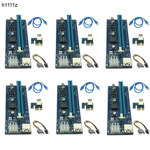 6 unids 006C USB 3.0 PCI-E Expreso 1X 4x 8x 16x Riser Extender adaptador de la Tarjeta SATA 15pin Male 6pin Cable de Alimentación para La Minería Bitcoin