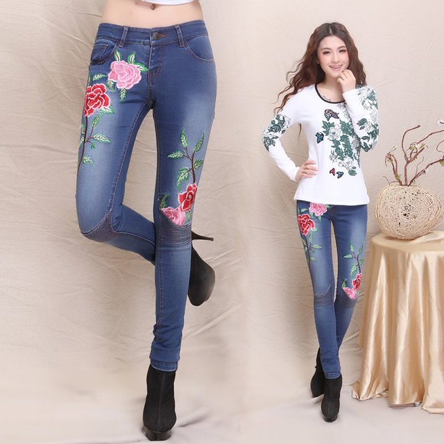 Embroidery jeans 2017 women Spain style ethnic long flowers embroidery denim pencil pant trousers traditional Chinese clothing