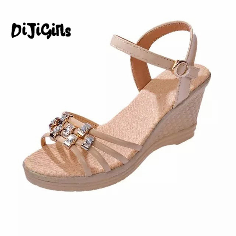 2017 Gladiator Sandals Summer Platform Shoes Woman Slip On Creepers Rhinestones Casual Wedges Women Shoes chnhira 2017 suede gladiator sandals platform wedges summer creepers casual buckle shoes woman sexy fashion high heels ch406