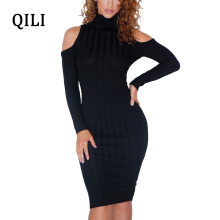 QILI Women Cold Shoulder Dress Wine red Black Long Sleeve Pencil Dresses Pit Striped Bodycon Vestidos Female