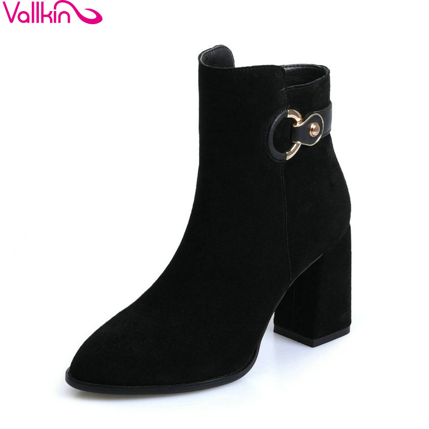 VALLKIN 2018 Women Boots Handmade Short Plush/PU Square High Heel Chunky Ankle Boots Pointed Toe Fashion Ladies Boots Size 34-39 esveva 2018 women boots zippers black short plush pu lining pointed toe square high heels ankle boots ladies shoes size 34 39
