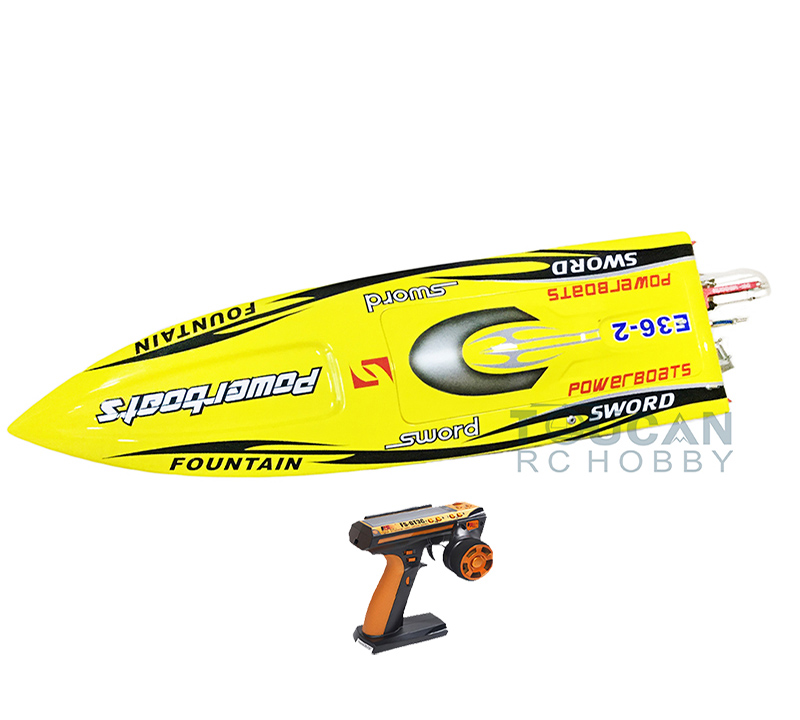 E36 RTR Sword Fiber Glass Racing Speed RC Boat W/1750kv Brushless Motor/120A ESC/Servo/Remote Control Boat Yellow e22 rtr tiger teeth fiber glass racing speed boat w 2550kv brushless motor 90a esc remote control catamaran rc boat blue