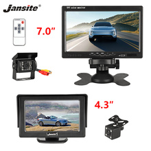 цена на Jansite 4.3 7 TFT LCD Car Monitor Display Waterproof 12V 24V Backup Reverse Camera Wired Cameras Parking System For Bus Truck