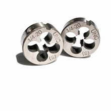 """Free shipping of 2PCS of alloy steel made UNC/UNS/UNEF manual dies 1/4"""" 20 24 27 28 32 36 40  for hand threading metal workpiece"""