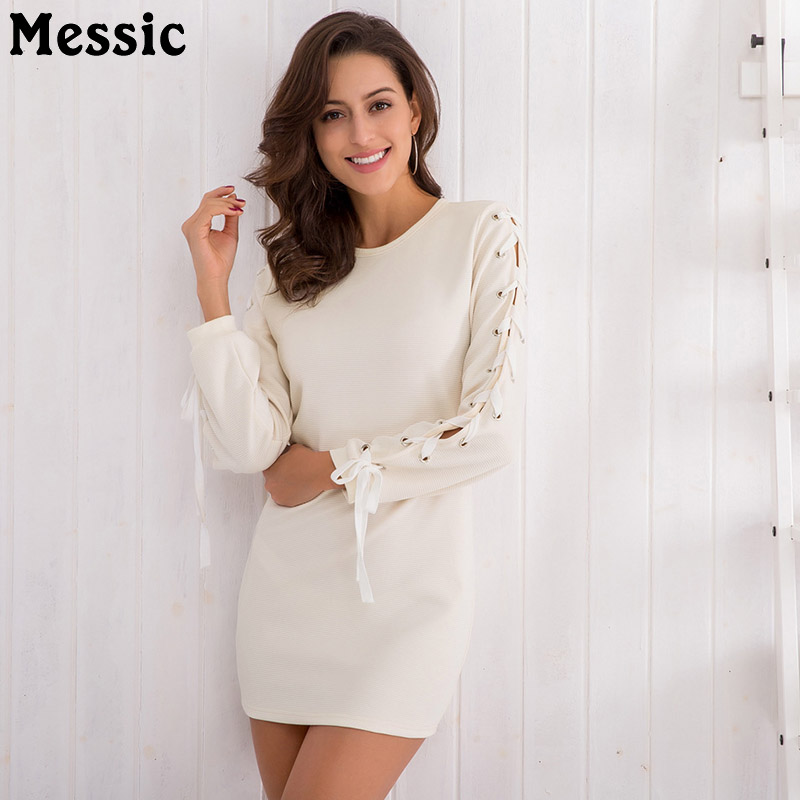 Messic Hollow Out Long Sleeve Mini Bodycon Dress Women 2018 Summer Casual Knitted Robe Femme Round Neck Sheath Female Dresses round neck ladies sweater dresses cotton knitted 2018 summer womens mini dresses long sleeve party dress robe longue femme q1