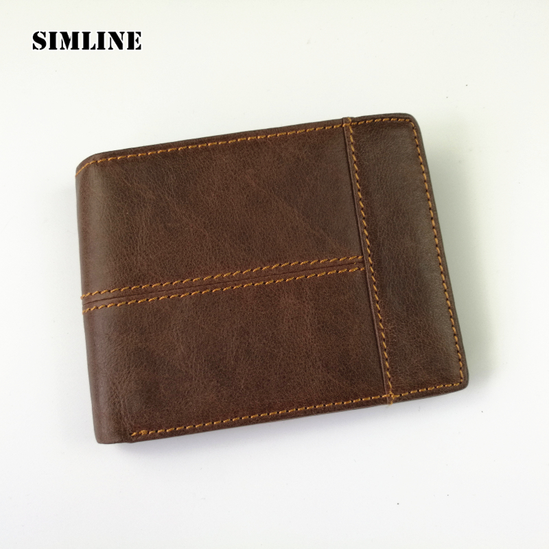 SIMLINE Vintage Genuine Leather Men Men's Short Splice Wallet Wallets Purse Card Holder With Zipper Coin Pocket Male Carteira genuine leather mens wallet black hasp men purse with zipper coin pocket portfolio male short card holder vertical men wallets