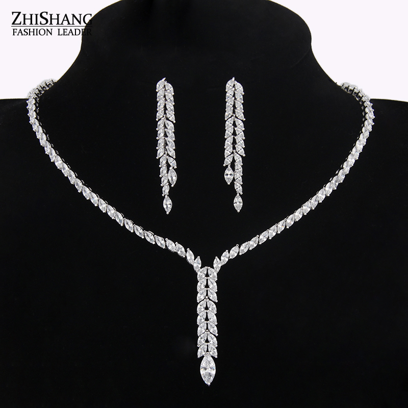 Sparkling Water Drop Dangling Wedding Necklace And Earrings Bridal Cubic Zirconia Diamond Jewelry Sets For Wedding