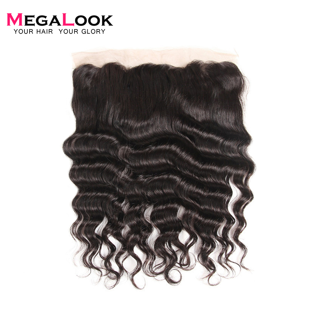 Megalook Human-Hair Frontal Brazilian with 10-22-Inch Deep-Lace Loose Preplucked 100%Remy