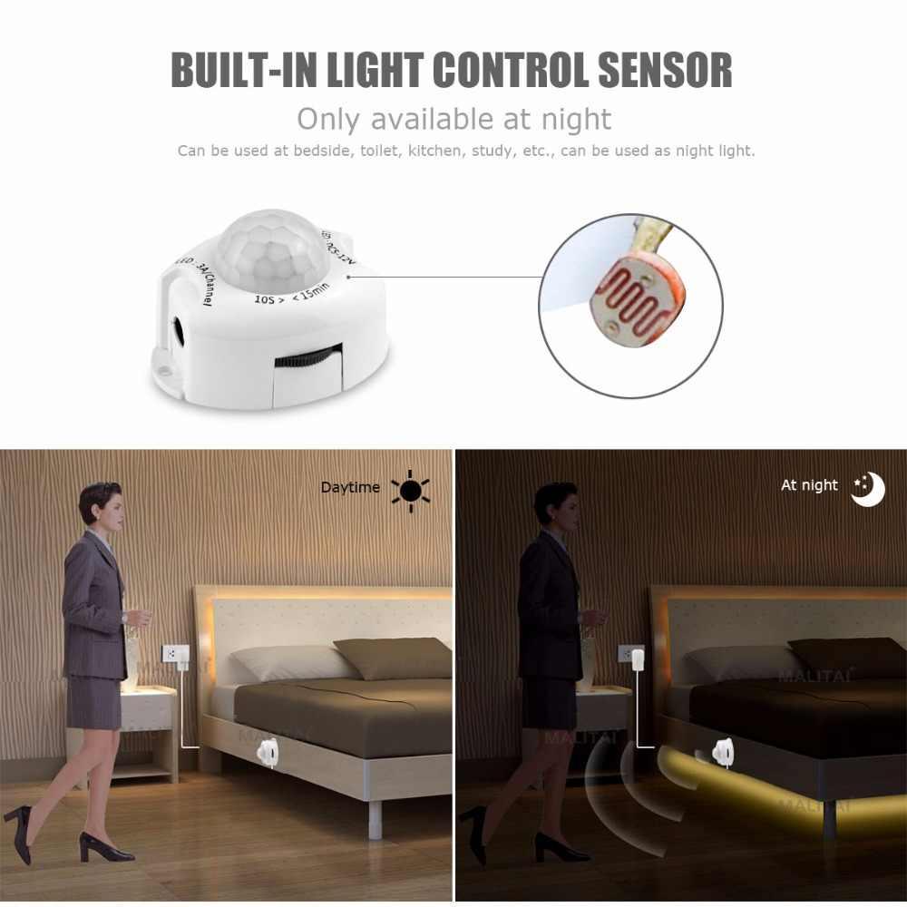 AIMENGTE DC12V Светодиодные ленты движения Сенсор светильник Авто включения/выкл гибкий светодиодный клейкие ленты 1 м 2 м 3 м 4 м 5 м SMD2835 кровать светильник с блоком питания