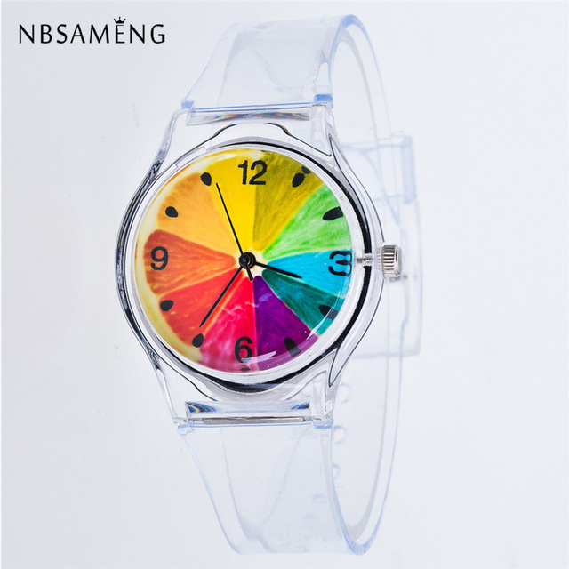 Transparent Clock Silicon Watch Women Sport Casual Quartz Wristwatches Novelty C