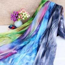 Приятная для кожи 30D печатная шифоновая ткань китайская чернильная ткань шелк весеннее и летнее платье Шелковый шарф Hanfu Одежда Ткань сделай сам