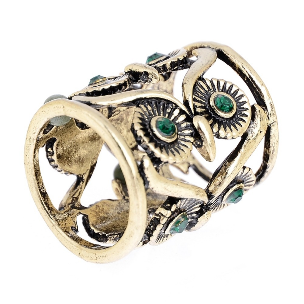 Vintage Retro Punk Style Gold Silver Color Hollow Owl Shaped Crystal Long  Ring Jewelry Accessories(