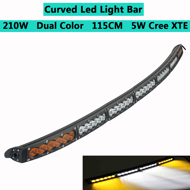 White Amber Yellow Curved LED Light Bar 45inch 210W Off-road Light Bar White Amber Yellow Spot Flood Combo Beam LED Work Diving image